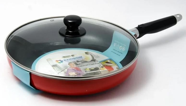 Сковорода антипригарная с крышкой 28 см, Maestro (красная)