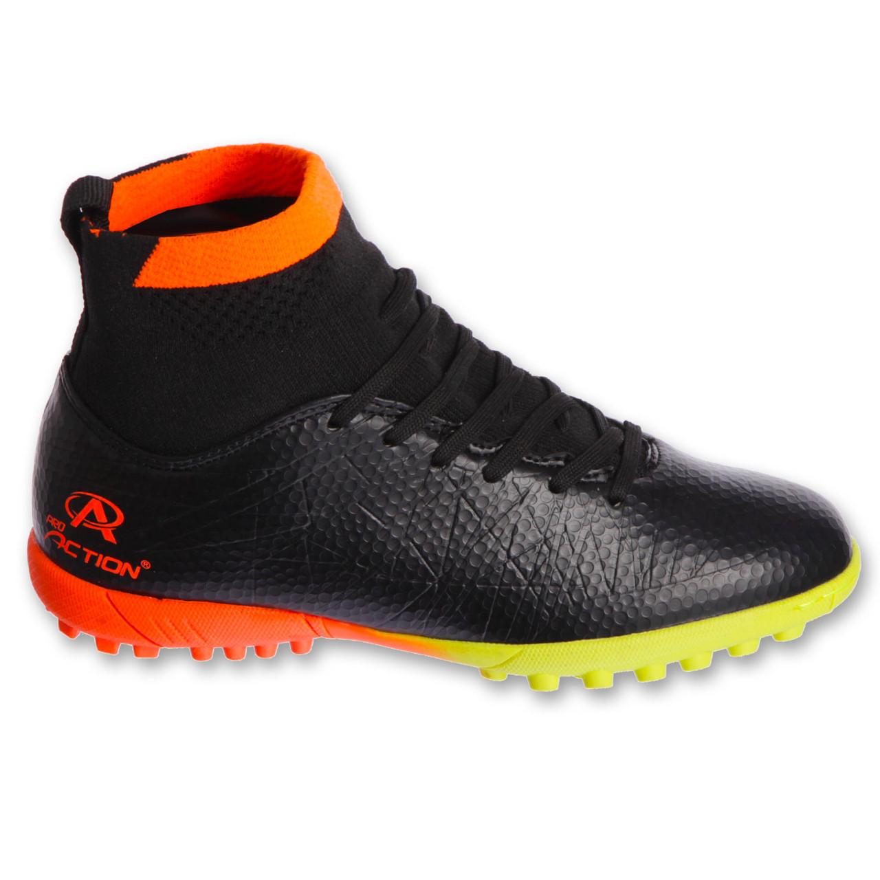 Сороконожки обувь футбольная подростковая с носком Pro Action PRO-823-B1 BLACK/ORANGE размер 35-40 (верх-PU, черный-оранжевый)