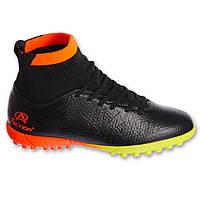 Сороконожки обувь футбольная подростковая с носком Pro Action PRO-823-B1 BLACK/ORANGE размер 35-40 (верх-PU, черный-оранжевый), фото 1