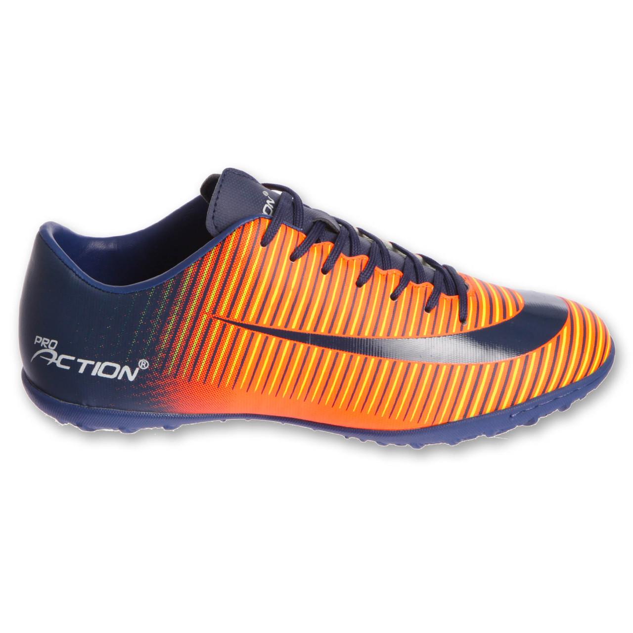 Сороконожки обувь футбольная Pro Action VL17555-TF-40-45-NO NAVY/ORANGE размер 40-45 (верх-PU, темно-синий-оранжевый)