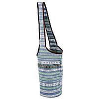 Сумка для фитнеса и йоги через плечо Yoga bag KINDFOLK FI-8364-3 (размер 33смх84см, полиэстер, хлопок, серый-синий)