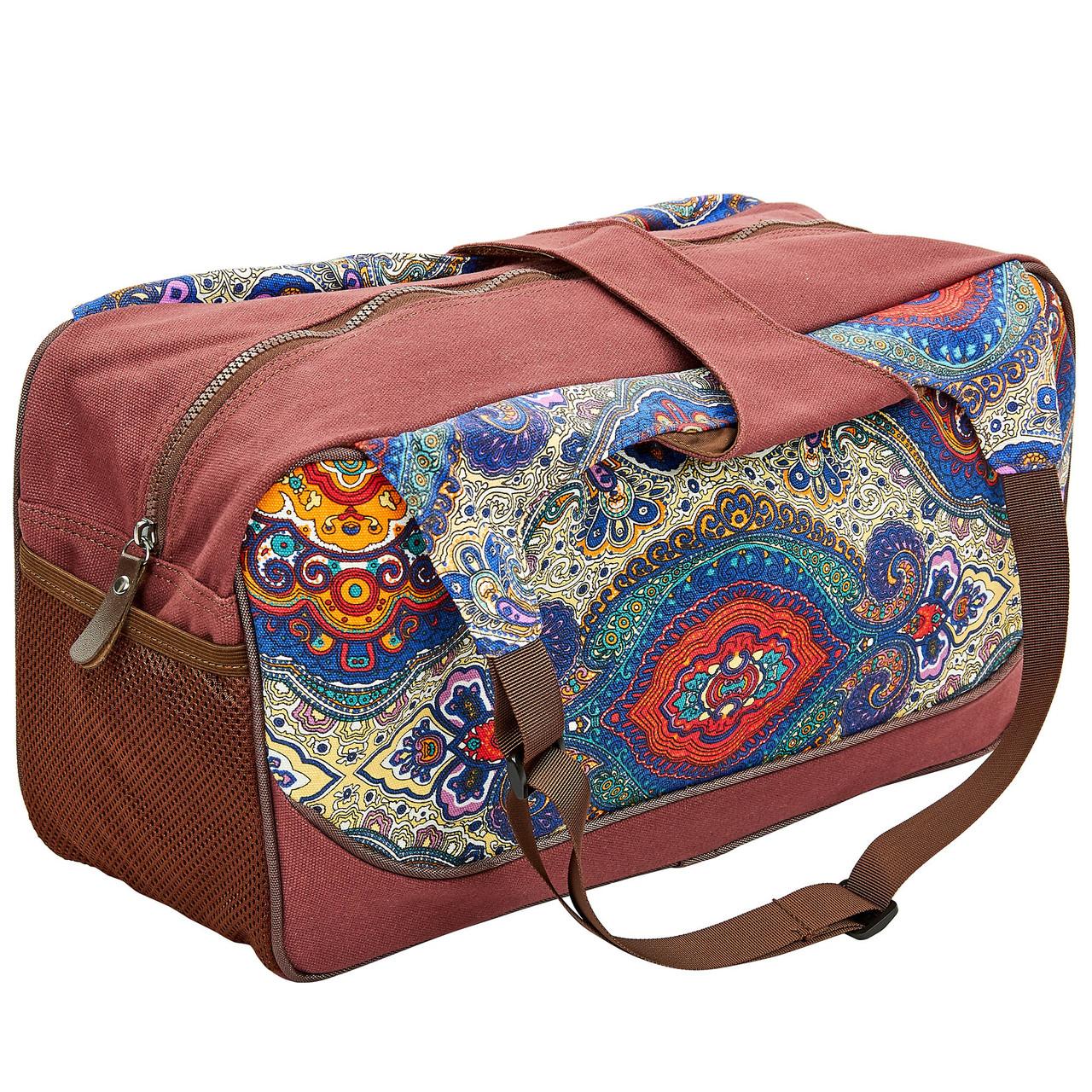 Сумка для фитнеса и йоги Yoga bag KINDFOLK FI-8366-4 (размер 19смх50х33см, полиэстер, хлопок, темно-синий-фиолетовый)