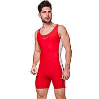 Трико для борьбы и тяжелой атлетики, пауэрлифтинга PRIMA CO-04 (полиамид, эластан,L-2XL) красный-белый