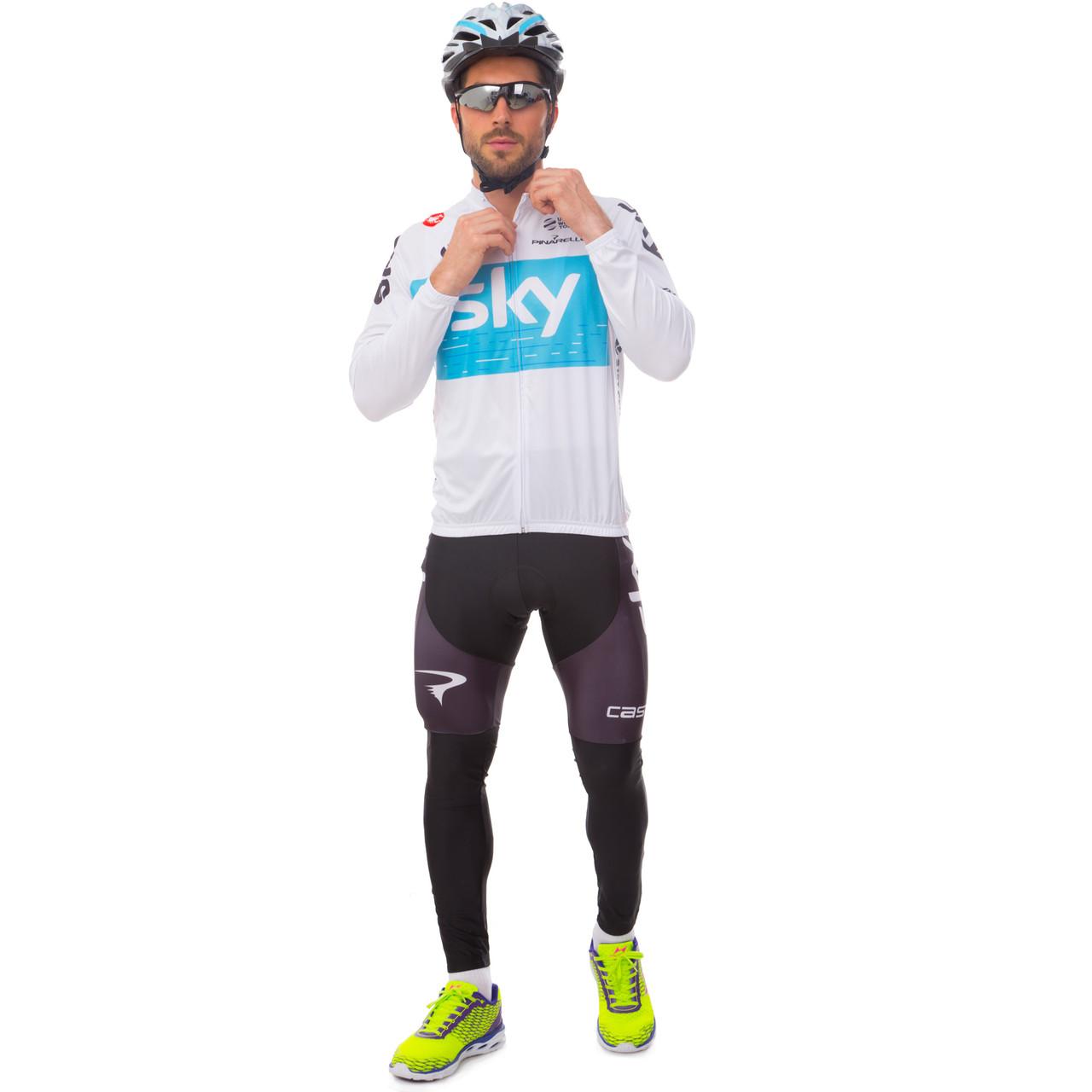 Велоформа длинный рукав с лямками SKY Y-13 (р-р M-3XL-55-90кг-168-192см, белый-черный-голубой)