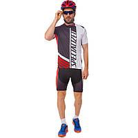 Велоформа короткий рукав с лямками SPECIALIZED Y-50 (р-р M-3XL-55-90кг-168-192см, черный-белый-красный)