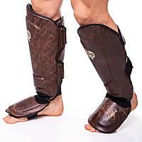 Защита для голени и стопы Муай Тай, ММА, Кикбоксинг кожаная HAYABUSA KANPEKI VL-5783 (р-р M-XL, коричневый)