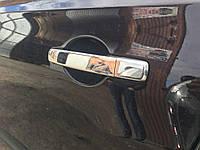 Накладки на двери для ручек Nissan Qashqai 2007-2010 (сталь, 4 шт) Омса без чипа