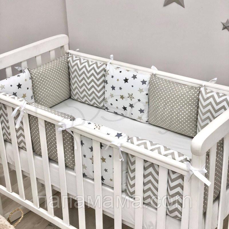 Бортики+простынь Baby Design, Stars серый