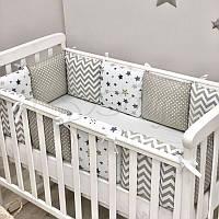 Бортики+простынь Baby Design, Stars серый, фото 1