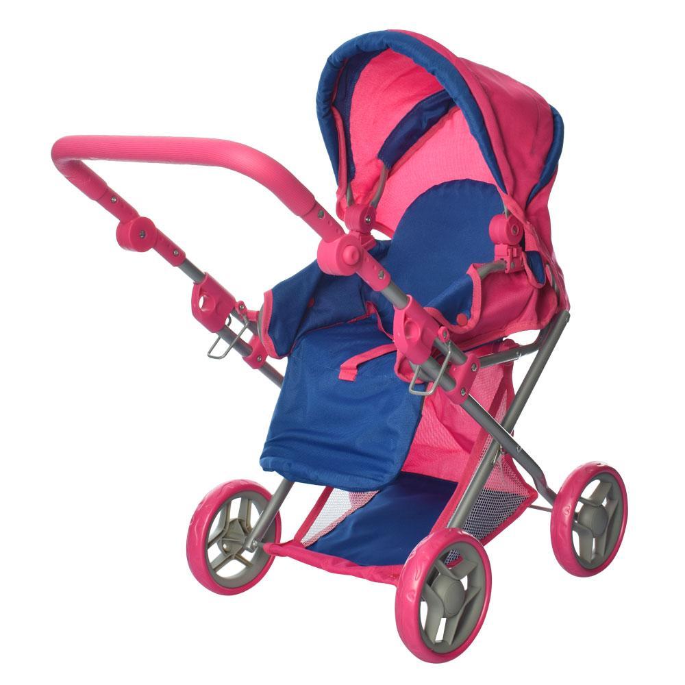 Коляска для куклы 9346 Melogo сине-розовая 2 в 1, демисезон