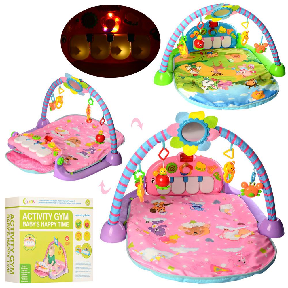 Развивающий коврик для младенца 960*530 мм с пианино 518B-5-6, розовый