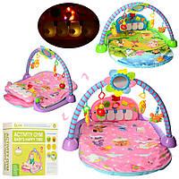 Развивающий коврик для младенца 960*530 мм с пианино 518B-5-6, розовый, фото 1