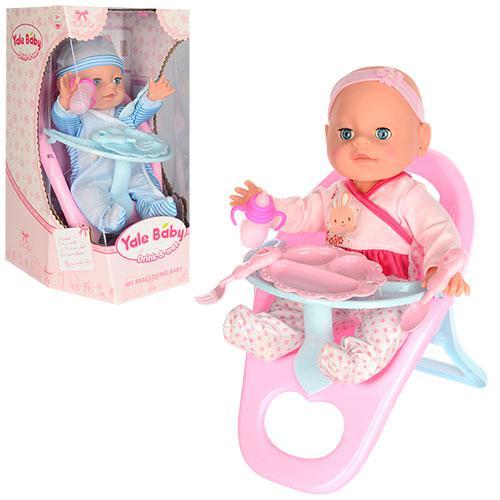 Кукла-пупс YL1721E интерактивная, в розовом костюмчике, стульчик для кормления