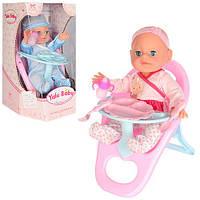 Кукла-пупс YL1721E интерактивная, в розовом костюмчике, стульчик для кормления, фото 1