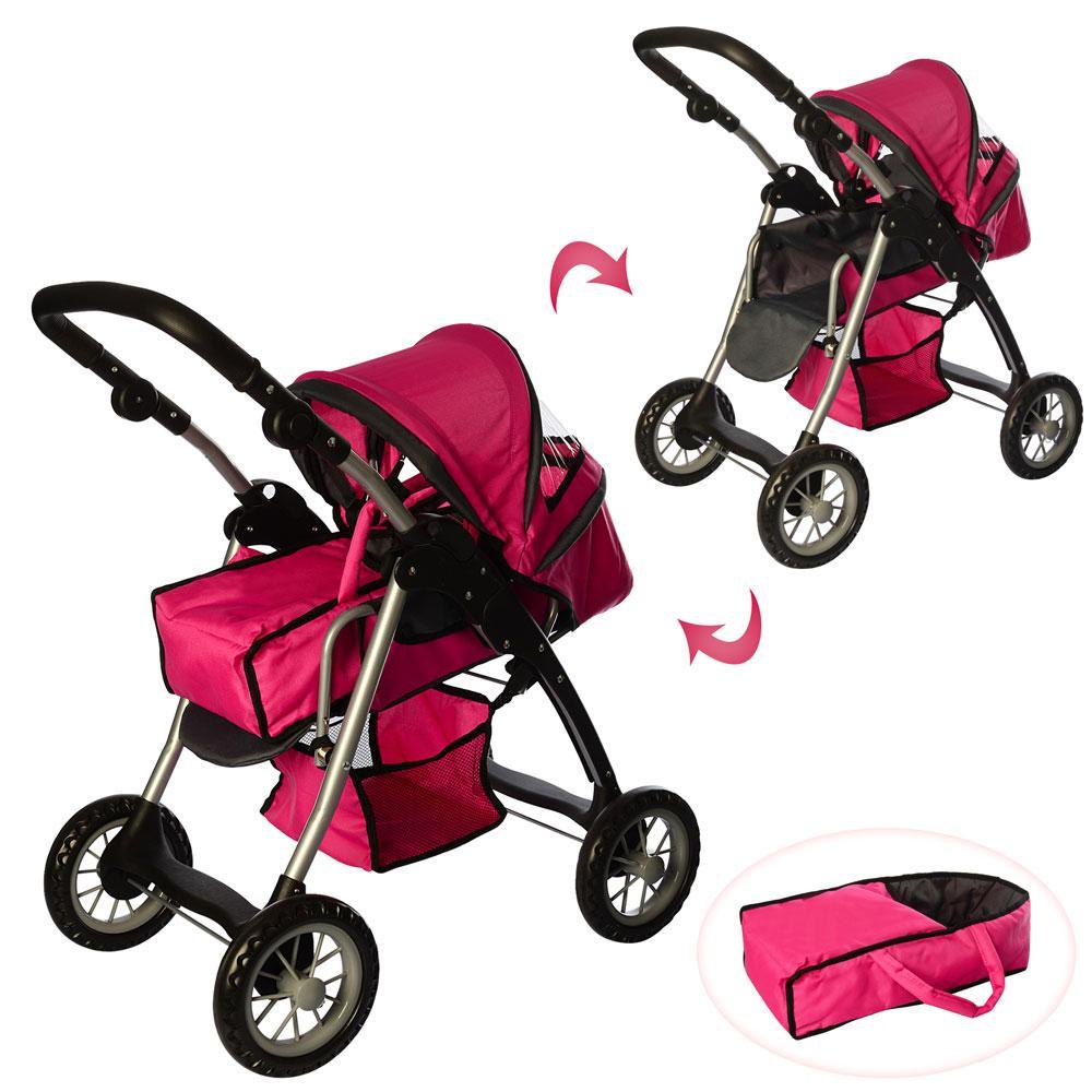 Детская коляска для куклы классика 9388 Melogo, люлька, корзина для игр., малиновый
