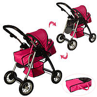 Детская коляска для куклы классика 9388 Melogo, люлька, корзина для игр., малиновый, фото 1