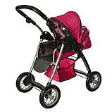 Детская коляска для куклы классика 9388 Melogo, люлька, корзина для игр., малиновый, фото 2