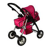 Детская коляска для куклы классика 9388 Melogo, люлька, корзина для игр., малиновый, фото 3
