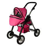 Детская коляска для куклы классика 9388 Melogo, люлька, корзина для игр., малиновый, фото 4