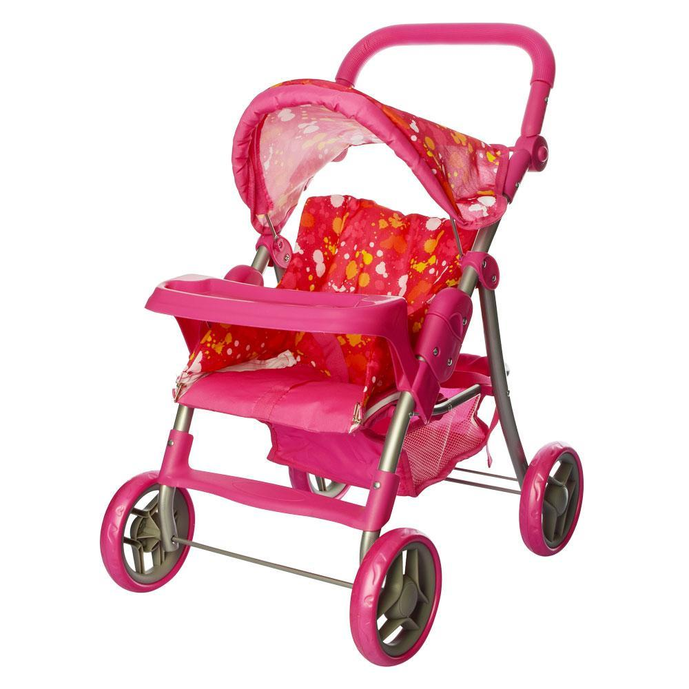 Коляска прогулянкова для ляльки 9337 - 2, металеві, висота до ручки - 74 см, рожева