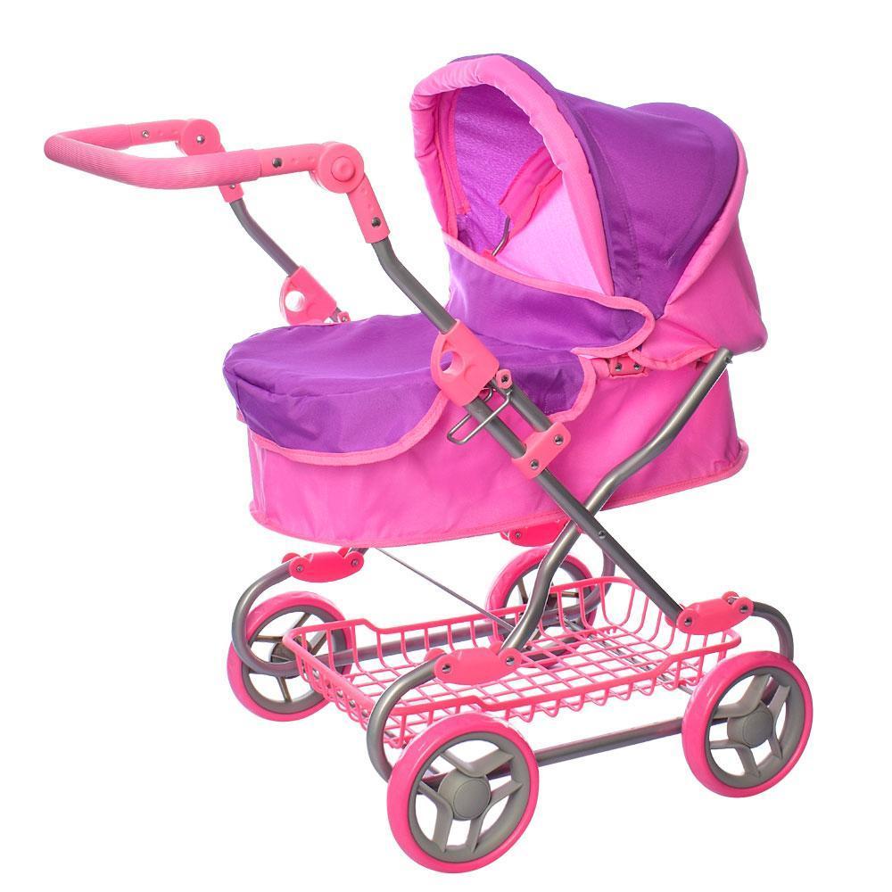 Коляска прогулочная для куклы, металлическая, высота до ручки - max 75 см, MELOGO 9680W, розовая с фиолетовым
