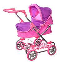 Коляска прогулочная для куклы, металлическая, высота до ручки - max 75 см, MELOGO 9680W, розовая с фиолетовым, фото 1