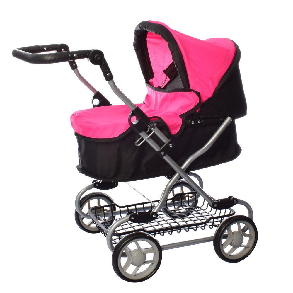 Коляска прогулочная для куклы, металлическая, высота до ручки - max 75 см, MELOGO 9680W, розово-черная