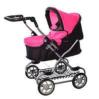Коляска прогулочная для куклы, металлическая, высота до ручки - max 75 см, MELOGO 9680W, розово-черная, фото 1