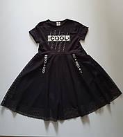 Летнее модное платье на девочку черное COOL юбка с крупной сеткой на 116,128,134