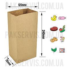 Паперовий пакет з дном 240х125х75мм