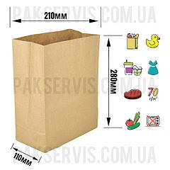 Паперовий пакет Крафт з прямокутним дном 280х210х110мм (ДхШхГ) 100шт.