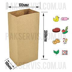 Паперовий пакет з дном 280х170х110мм