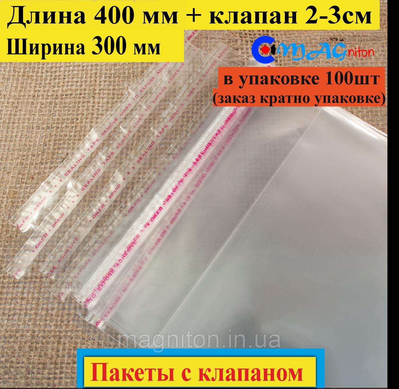 Пакет полипропиленовый 400х300 мм с клапаном и липкой лентой