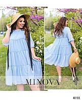 Женское летнее шифоновое платье свободного кроя в горошек Большого размера Р- 50, 52, 54, 56, 58, 60, 62, 64