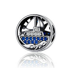 "Шарм ""Парусник"" серебро 925 проба, кубический цирконий"