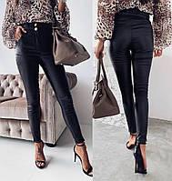 Стильные кожаные модные облегающие женские брюки (р.42-48). Арт-3517/13, фото 1