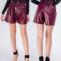 Стильные женские модные кожаные шорты с поясом. Арт-3519/13