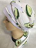 Летняя  бандана-косынка-тюрбан с объёмной драпировкой белая с бирюзовым, фото 3
