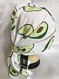Летняя  бандана-косынка-тюрбан с объёмной драпировкой белая с бирюзовым, фото 5