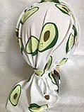 Летняя  бандана-косынка-тюрбан с объёмной драпировкой белая с бирюзовым, фото 6