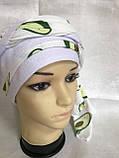 Летняя  бандана-косынка-тюрбан с объёмной драпировкой белая с бирюзовым, фото 7