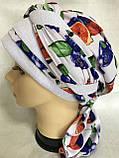 Летняя  бандана-косынка-тюрбан с объёмной драпировкой белая с бирюзовым, фото 8