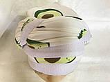Летняя  бандана-косынка-тюрбан с объёмной драпировкой белая с бирюзовым, фото 9