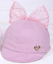 Детская кепка  на девочку  Love  с бантиком  цвет пыльная роза размеры 48-52