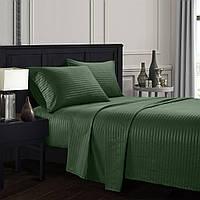 Комплект постельного белья подросток темно зеленое Stripe CottonTwill (страйп сатин Турция)