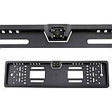 Камера заднего вида в авто номерной рамке с 4 LED подсветкой Black, фото 4