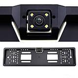 Камера заднего вида в авто номерной рамке с 4 LED подсветкой Black, фото 5