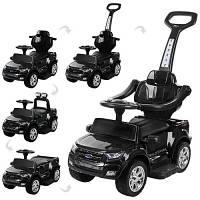 Детская электрическая каталка-толокар Bambi 3в1 Ford Ranger (чёрная). Подарок для мальчика!