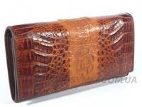 Женский кошелёк из натуральной кожи крокодила, цвет коричневый