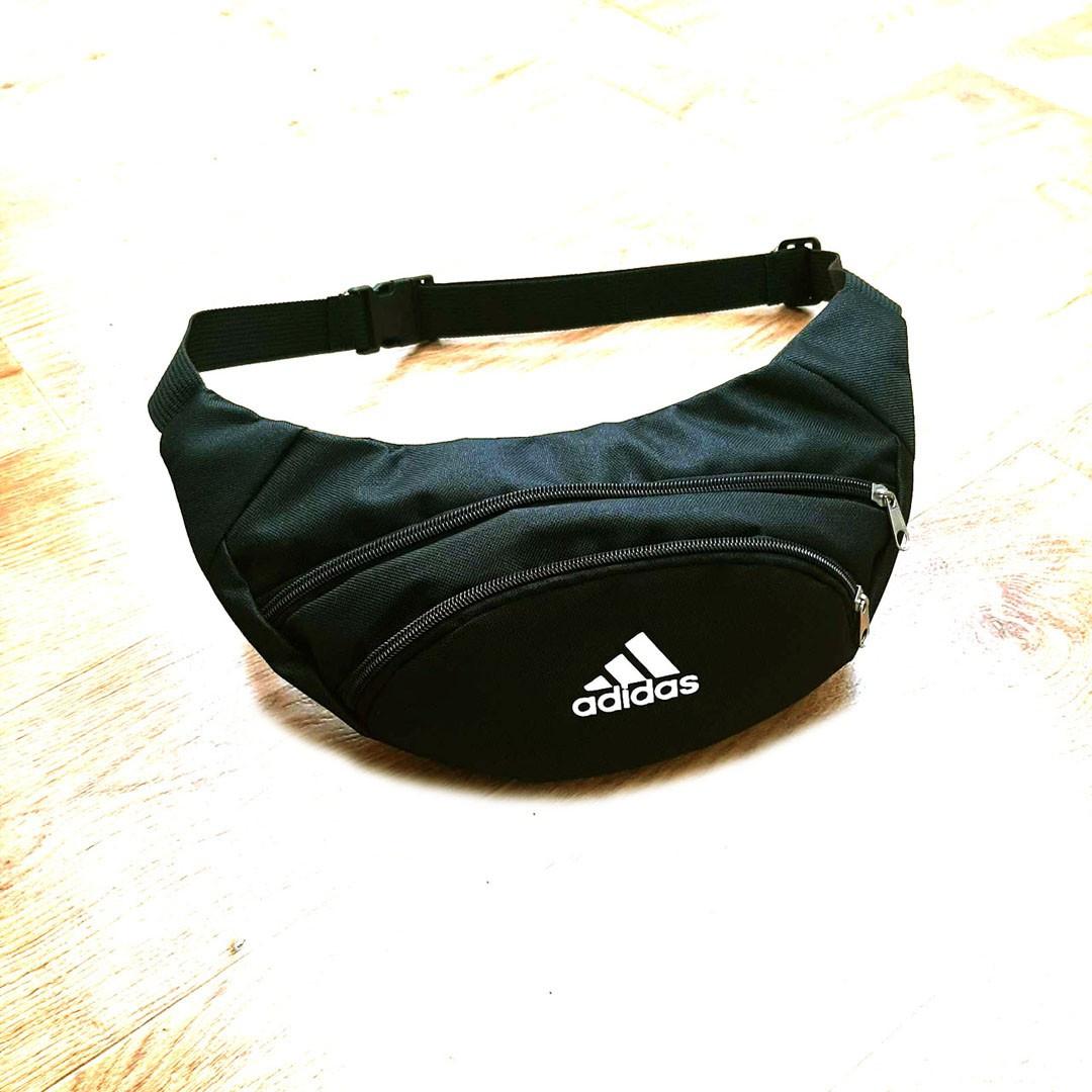 Черная Поясная сумка, Бананка, барсетка Адидас, adidas.